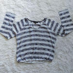 Sanctuary Gathered Hem Striped Sweater
